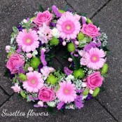 Pink Rose & Germini Wreath